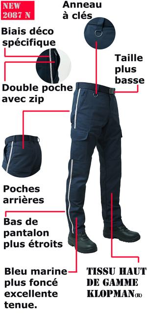 Finitions de qualité supèrieure sur ce pantalon ambulancier bleu marine.