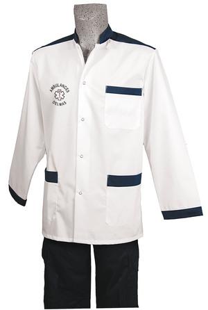 BLOUSE BLANC/MARINE M. LONGUES AMBULANCIER vêtements ambulanciers