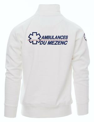 Sweat ambulancier col zippé blanc
