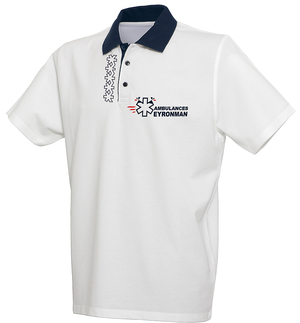 De couleurs bleu marine et blanc ce polo s'accordera avec toutes les tenues de l'ambulancier.