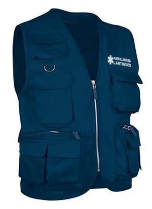Gilet ambulanciers bleu marine pas cher, léger et fonctionnel.