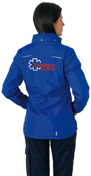 Tissu de qualité, robuste et imperméable sur cette parka pour ambulancières.