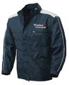 Blouson d'hiver bleu marine et blanc confortable et robuste pour les ambulanciers et les urgentistes.