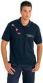 Joli polo bleu marine pour ambulancier avec impression graphique.